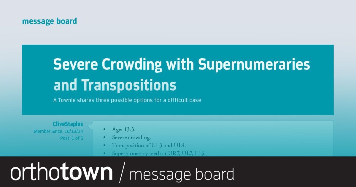 Severe Crowding with Supernumeraries and Transpositions